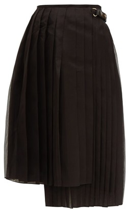 Fendi Pleated Silk Organza Midi Skirt - Womens - Black