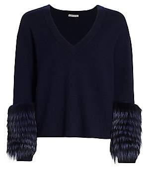 Alice + Olivia Women's Shiela Silver Fox Fur-Trim Sweater