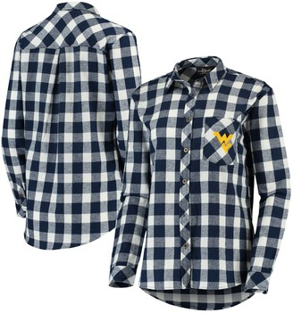 Buffalo David Bitton Unbranded Women's Navy/Cream West Virginia Mountaineers Plaid Flannel Button-Down Shirt