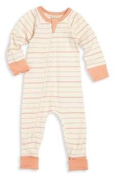 Baby Girl's Asymmetric Zip Front Striped Organic Cotton Footsie