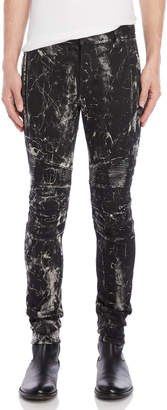 Balmain Black Crackled Moto Jeans