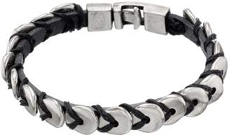 Uno de 50 You Eat It Beaded Disk Leather Cuff Bracelet