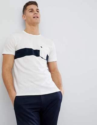 Abercrombie & Fitch Washed Chest Stripe Pocket Moose Logo T-Shirt in White/Navy