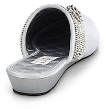 LMN / Luxe Me Now Camellia Embellished Silver Satin Slippers