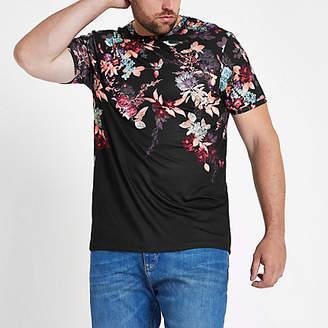 River Island Mens Big and Tall Black slim fit oriental T-shirt