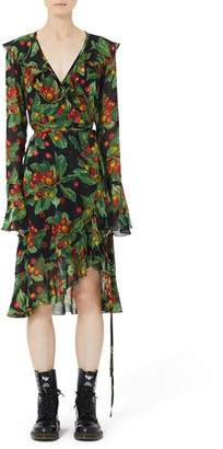 Marc Jacobs Bell-Sleeve Ruffled Cherry-Print Wrap Dress