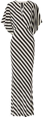 Norma Kamali Striped Stretch-jersey Maxi Dress - Black