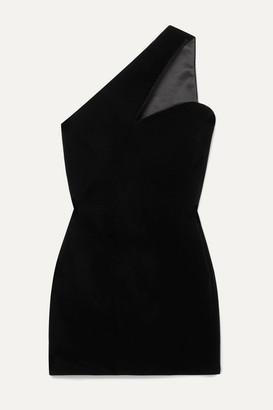 Saint Laurent One-shoulder Velvet Mini Dress - Black