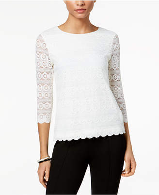 Charter Club Petite Lace 3/4-Sleeve Top
