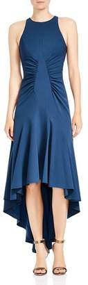 Halston Sleeveless Ruched High/Low Gown