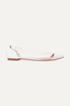 Gianvito Rossi Plexi Patent-leather And Pvc Point-toe Flats - White