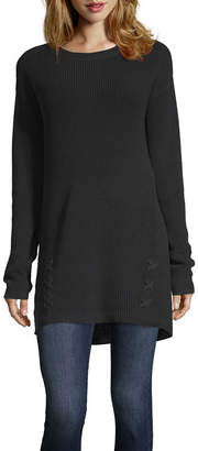A.N.A Long Sleeve Elliptical Hem Crew Neck Sweater - Tall