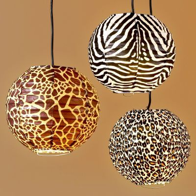 Safari Print Paper Lantern Set of 3