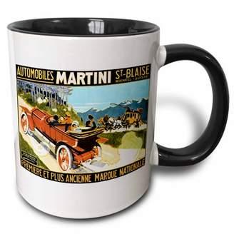 3dRose Vintage Martini Automobiles Antique Motorcar Advertising Poster - Two Tone Black Mug, 11-ounce