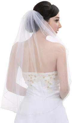 Venus Jewelry 1T 1 Tier Pearls Crystals Beaded Wedding Veil V377 - V377