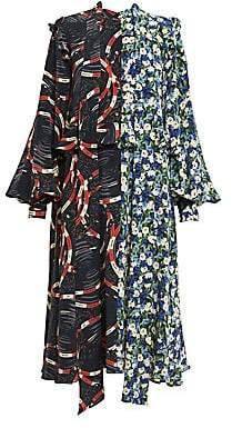 Rokh Women's Mixed Print Scarf Frill Silk Midi Dress