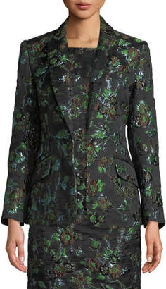 Badgley Mischka Brocade One-Button Blazer