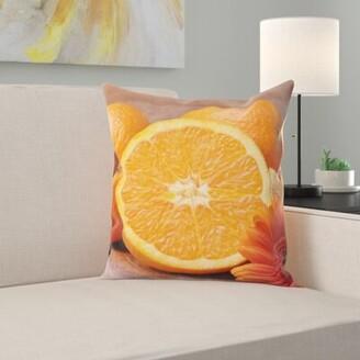 East Urban Home Orange Throw Pillow East Urban Home