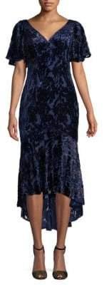 Theia Flutter-Sleeve Asymmetric Sheath Dress