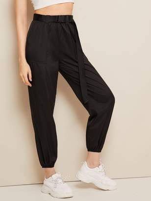 Shein Buckle Belted Pocket Patch Crop Wind Pants