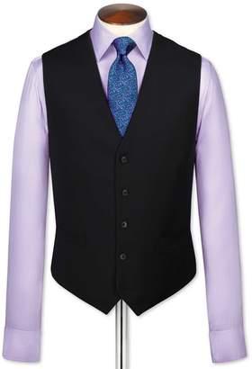 Charles Tyrwhitt Black Adjustable Fit Twill Business Suit Wool Vest Size w46