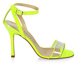 Manolo Blahnik Women's Dandolo Leather& PVC Heeled Sandals