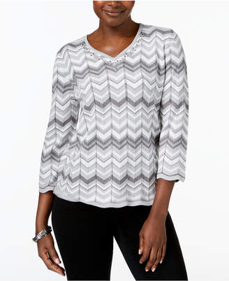 Alfred Dunner Lakeshore Drive Chevron-Stripe 3/4-Sleeve Sweater