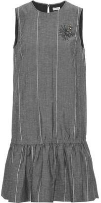 Brunello Cucinelli Gathered Appliquéd Striped Wool And Linen-Blend Mini Dress