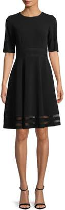 Calvin Klein Elbow Sleeve Fit and Flare Mesh Insert Dress