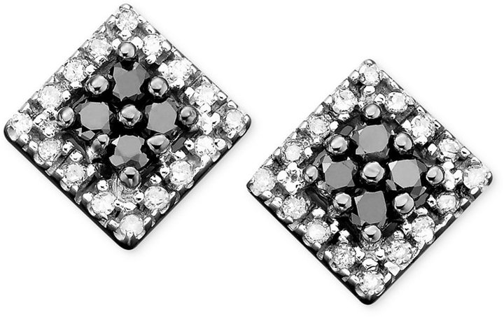 10k White Gold Earrings, Black and White Diamond Square Studs (1/4 ct. t.w.)