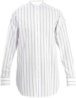 Stella McCartney Grandad-collar striped cotton shirt