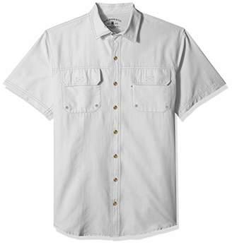 G.H. Bass & Co. Men's Big and Tall Explorer Short Sleeve Button Down Fishing Shirt Solid Flap Pocket