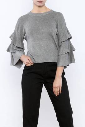 cq by cq Cropped Ruffle Sleeve Sweater $45.99 thestylecure.com