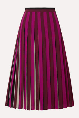 MICHAEL Michael Kors Pleated Striped Crepe Midi Skirt - Magenta