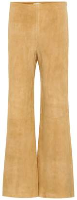 The Row Flared suede trousers