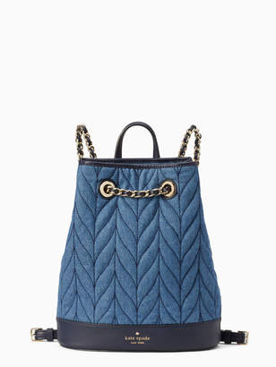 Kate Spade briar lane quilted denim bucket backpack