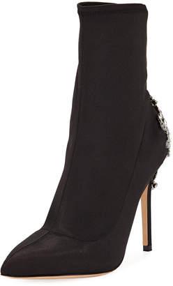 Badgley Mischka Meg Satin Booties With Embellished Heel