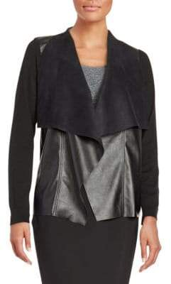 MICHAEL Michael Kors Faux Leather-Trimmed Cardigan