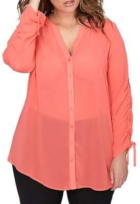 Addition Elle Michel Studio Plus Ruched-Sleeve Scoop-Hem Button-Down Tunic