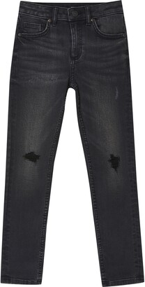 River Island Mens Boys Black wash Sid ripped skinny jeans