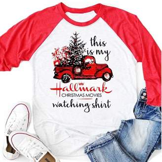 33cbb7667 CFD Womens This is My Hallmark Christmas Movies Watching Shirt Truck  Printed Baseball T Shirts Splicing