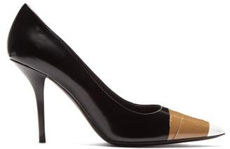 Burberry Annalise Tape Toecap Leather Pumps - Womens - Black White