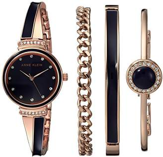 Anne Klein Women's AK/2216NRST Swarovski Crystal Accented Rose Gold-Tone and Navy Blue Watch and Bracelet Set