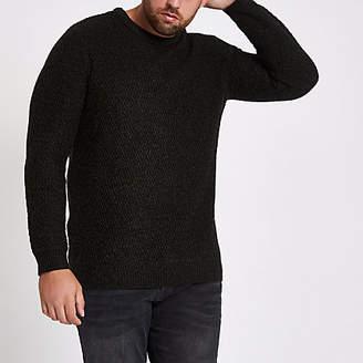 River Island Mens Big and Tall black slim fit textured jumper