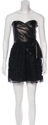 Valentino Strapless Leather-Paneled Dress