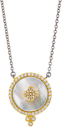 Freida Rothman Pave Crystal Clover Disc Pendant Necklace