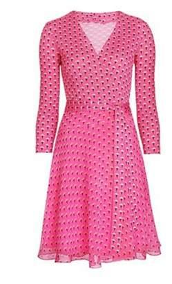 Diane von Furstenberg XC Dresses XC Women Summer Midi Dress Causal Floral Print Wrap Dress Dress with Belt