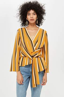 Topshop Striped Knot Front Blouse