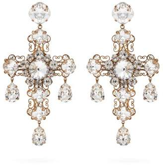 Dolce & Gabbana Crystal Cross Clip On Earrings - Womens - Gold