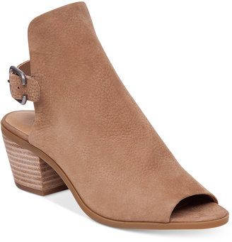 Lucky Brand Women's Bray Buckle Slingback Peep-Toe Booties Women's Shoes $119 thestylecure.com
